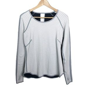 LULULEMON Long Sleeve Striped Workout Top Size 8